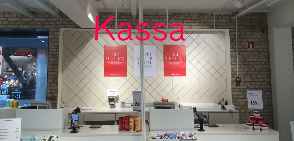 Åhléns Kassa (counter) sign
