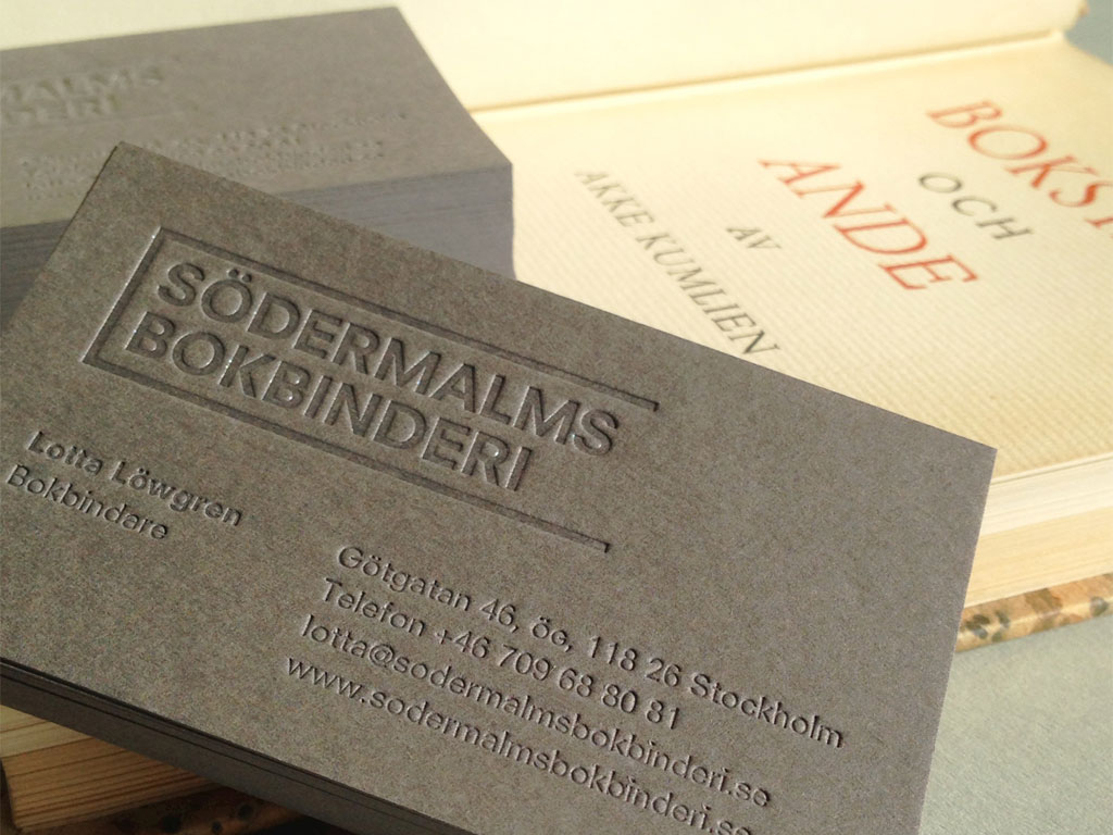 Södermalms Bokbinderi business card.